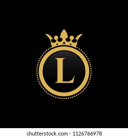 Letter L royal crown luxury logo design