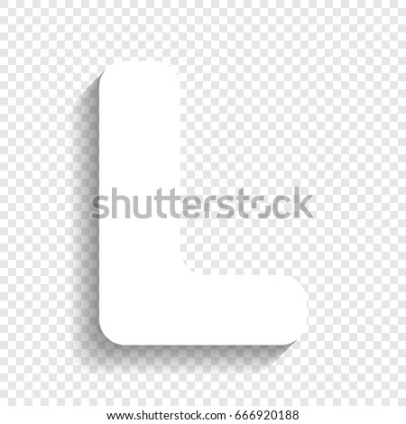 letter l sign design template element vector white icon with soft shadow on transparent