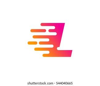 Letter L Speed Logo Design Template Element