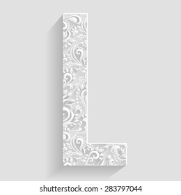 Letter L. Vector Floral Invitation cards Decorative Font