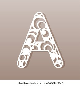 Letter A for laser cutting. English alphabet. Vector illustration.