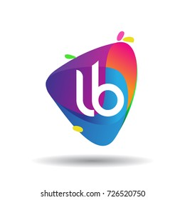 Letter LB logo with colorful splash background, letter combination logo design for creative industry, web, business and company.