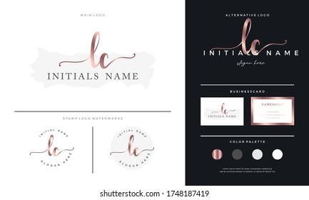 letter LC L C Initial handwriting beauty logo template. Elegant branding and Feminine luxury design on gold - Vector