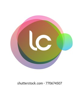 Letter LC logo with colorful splash background, letter combination logo design for creative industry, web, business and company.