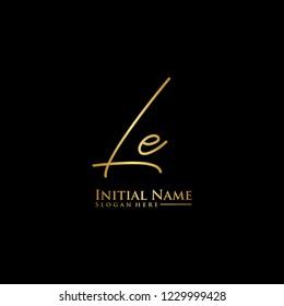Letter Le Logo. Initial Letter Design Vector Luxury Colors