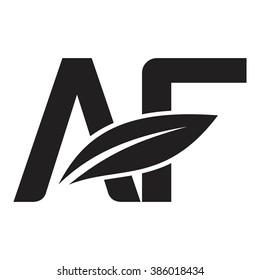 letter and leaf  logo vector.