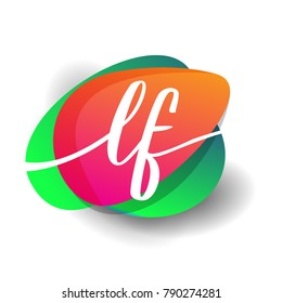 Letter LF logo with colorful splash background, letter combination logo design for creative industry, web, business and company.