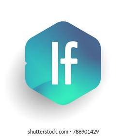 Letter LF logo in hexagon shape and colorful background, letter combination logo design for business and company identity.