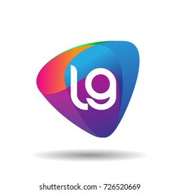 Letter LG logo with colorful splash background, letter combination logo design for creative industry, web, business and company.