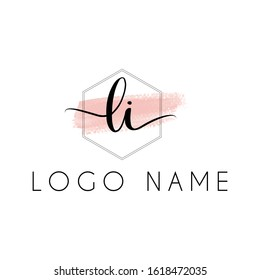 Letter Li handwriting logo with luxury elegent modern style perfect for , beauty , wedding photography , spa , makeup logos