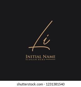 Letter Li Logo. Initial Letter Design Vector Luxury Colors