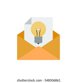 A letter with a light bulb in an envelope to symbolize giving ideals and suggestions