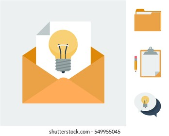 A letter with a light bulb in an envelope to symbolize giving ideals and suggestions and other icons of the same theme including folder, clipboard and speech bubbles