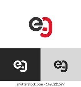 Letter eg linked lowercase logo design template elements. Red letter Isolated on black  background. Suitable for business, consulting group company.