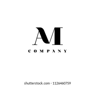 Letter AM linked vector logo design