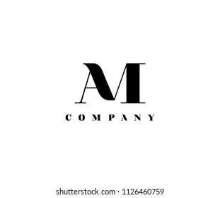 Letter AM linked vector logo design