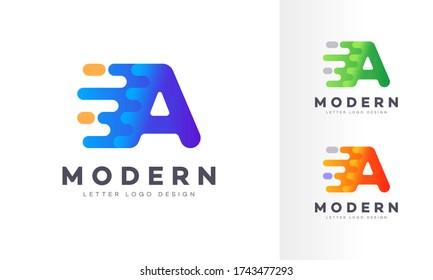 Letter A liquid abstract geometric logo design illustration. Fluid gradient elements. Futuristic trendy dynamic company business logo design. Vector EPS template.