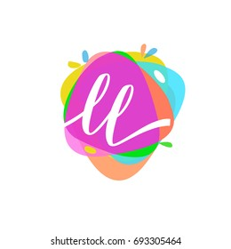 Letter LL logo with colorful splash background, letter combination logo design for creative industry, web, business and company.