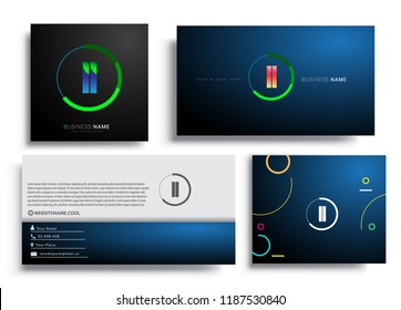 Letter LL logotype with colorful circle, letter combination logo design with ring, sets of business card for company identity, creative industry, web, isolated on white background.
