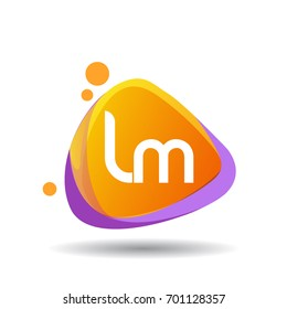 Letter LM logo in triangle splash and colorful background, letter combination logo design for creative industry, web, business and company.