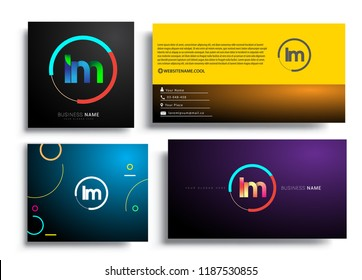 Letter LM logotype with colorful circle, letter combination logo design with ring, sets of business card for company identity, creative industry, web, isolated on white background.