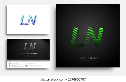 Letter LN logotype with colorful circle, with striped composition letter, sets of business card for company identity, creative industry, web.