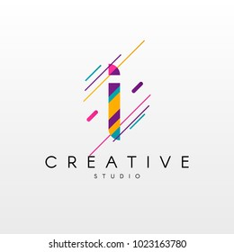 Letter I Logo. Abstract I letter design, made of various geometric shapes in color.
