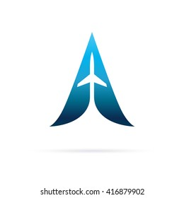 A Letter logo with airplane. Air. Airplane. Minimalistic logo design