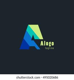 A Letter logo alphabet design vector