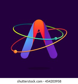 Letter A logo with atoms orbits lines. Bright vector design for science, biology, physics, chemistry company.