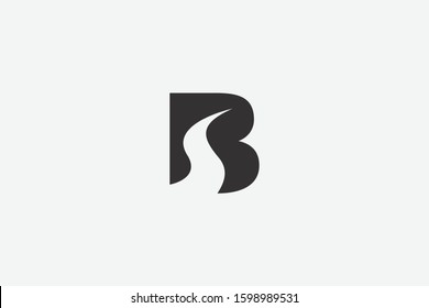 Letter logo B. Initial Icon B, and river curve s  vector, silhouette highway road negative space illustration.