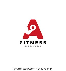 Letter A Logo With barbell. Fitness Gym logo Vector.