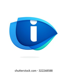 I letter logo with blue wing or eye. Abstract trendy letter multicolored vector design template elements for your application or corporate identity.