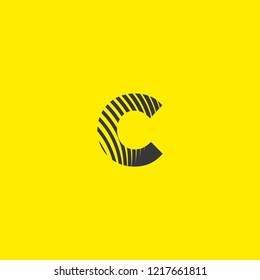 letter logo c lowercase, mutation of lines editable vector