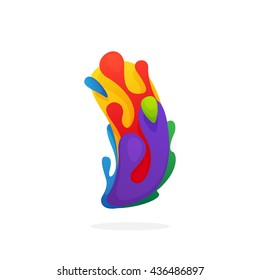 Circle Of Childish Stamps Hands I Letter Logo With Colorful Juice Splashes Font Style Vector Design Template Elements For