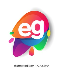 Letter EG logo with colorful splash background, letter combination logo design for creative industry, web, business and company