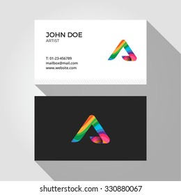 A Letter Logo Colorful Wavy Abstract Business card design template