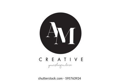 AM Letter Logo Design with Black Circle and Serif Font Vector Illustration.