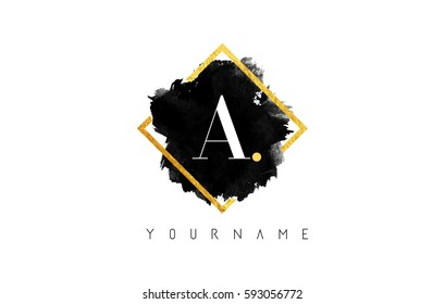 A Letter Logo Design with Black ink Stroke over Golden Square Frame.