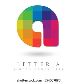 Letter A Logo Design Concept in Rainbow Mosaic Pattern Fill