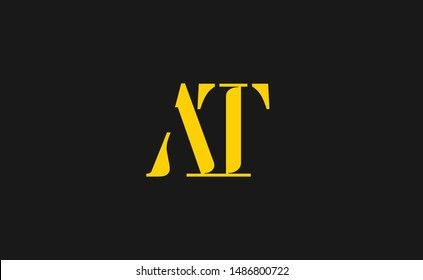 AT Letter Logo Design with Creative Modern Trendy Typography