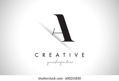 A Letter Logo Design with Creative Paper Cut and Serif Font.