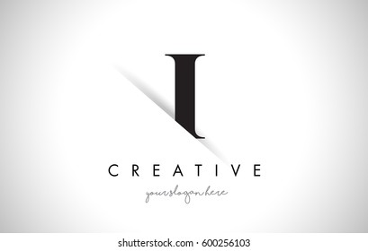 I Letter Logo Design with Creative Paper Cut and Serif Font.