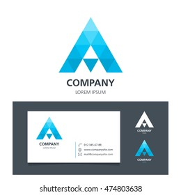 Letter A - Logo Design Element with Business Card - illustration