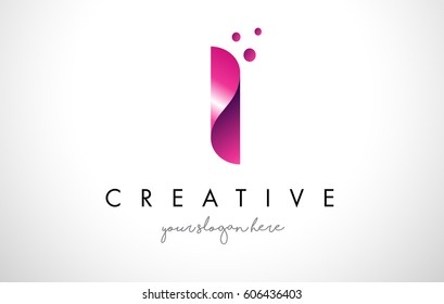 I Letter Logo Design Template with Purple Colors and Dots