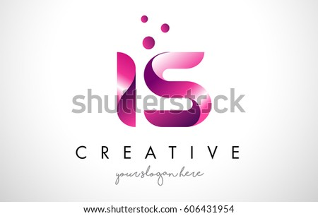Letter Logo Design Template Purple Colors Stock Vector (Royalty