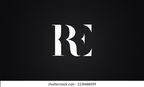 RE Letter Logo Design Template Vector