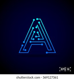 Letter A logo design template,Technology abstract dot connection cross vector logo icon circle logotype