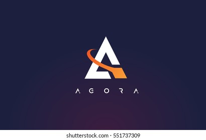 Letter A Logo. A Letter Design Vector with Orange Swash.