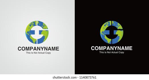 Letter EG Logo. EG Letter Design Vector Template with Earth